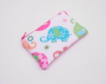 blue elephant change purse, pink elephant coin purse, blue zipper pouch, pink zipper bag, small wallet, animals card holder, elephant purse