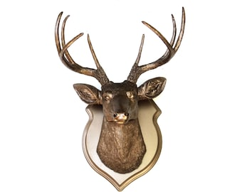 Metallic Bronze Faux Deer Head Wall Mount with Matching Shield Mount DS0909
