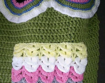 Owl blanket, owl cocoon, kids blanket, crocheted blanket, childs blanket, owl accessories