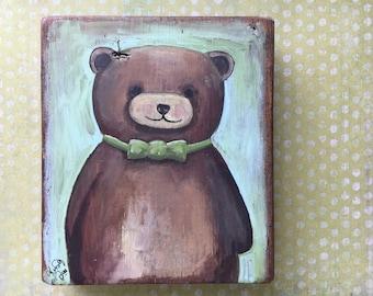 Bear Painting Original, Bear Nursery Rustic Bear Painting on Wood, Acrylic on Wood, Whimsical Painting Dapper Bear Art, Gift for Bear Lovers