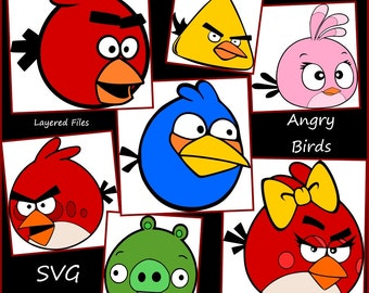 Angry Birds Layered SVG - Angry bird svg png jpeg - Designs for Cricut and Silhouette