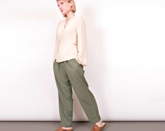 Vintage 80s olive green trouser pants high waist pleated minimalist women 26 ""