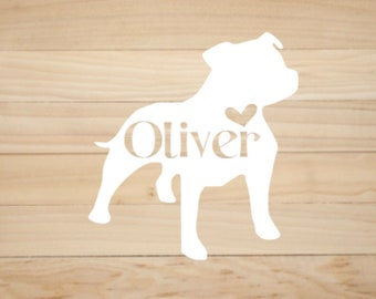 Personalized Pit Bull decal, Custom decals for pet lovers! Pick your color & font! American Staffordshire, Bully, Staffordshire Bull Terrier