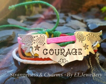 Hand Stamped 'Courage' Winged Heart Mixed Cord Bracelet, Adjustable Cord Bracelet, Heart and Wings, Tattoo Jewellery, Stamped Metal Jewelry.