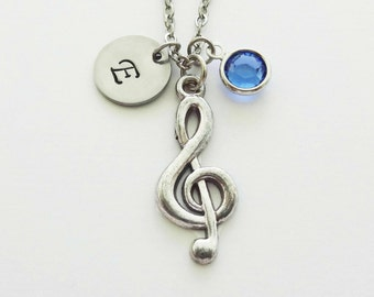 Treble Clef Necklace, Music Necklace, Gift For Musician, Swarovski Birthstone, Silver Initial, Personalized Monogram, Hand Stamped Letter