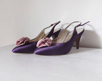Vintage Bruno Magli Heels Made in Italy Pumps Womens U.S. Shoe Size 7.5 Pink & Purple Pumps Mid Century Silk and Leather Pumps Vtg 1960's