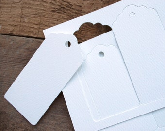 Gift Tags, Recycled card swing tags, Packs of 10, 30, 60 or 120 in Textured White