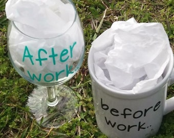 Before work and After work set/wine glass and coffee mug set/Before and After/