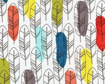 Feather Fabric, Michael Miller DC6206 Quill, Birds of a Feather Quilt Fabric, Sketched Feathers Fabric, Cotton