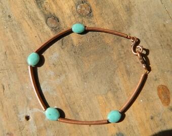jewelry, bracelet, copper bracelet, beaded bracelet, turquoise beads, stacking bracelet, metal tube bead, copper tube beads