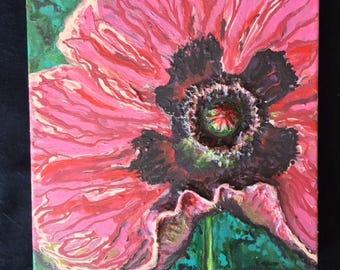 Poppy Petticoat 12x12x2 Acrylic Mixed Media Painting
