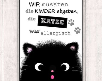 Allergic Cat - Black Cat - Funny Print