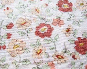 Japanese Cotton Linen Blend - Floral Fabric in Brown - Fat Quarter LIMITED YARDAGE