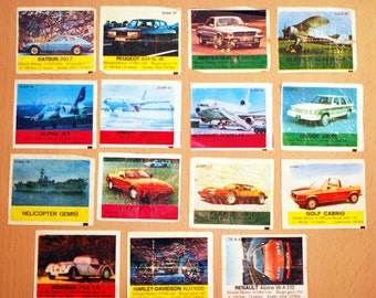 Vintage Cards Gums BI-BIB wrappers rare cars cards,Bi-Bib cards
