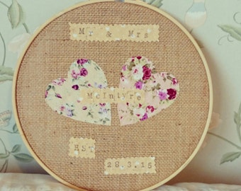 Mr & Mrs Embroidery Hoop. Wedding Present. Anniversary Gift.