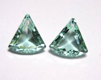 2 Pcs Very Beautiful Aqua Green Quartz Faceted Fancy Shaped Loose Gemstone Size 18X18 MM