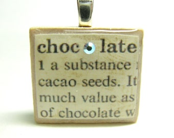 Chocolate - vintage dictionary Scrabble tile with Swarovski crystal