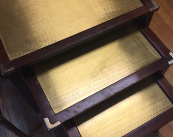 Modern Brass and Wood Nesting Tables