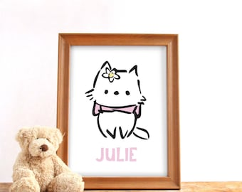 Personalized name poster, digital download, Baby girl name print, Cute kitty, Nursery print, Baby birthday gift, Printable wall decor