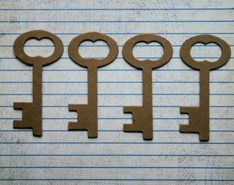 4 Short Skeleton Key Bare chipboard die cuts Diecuts