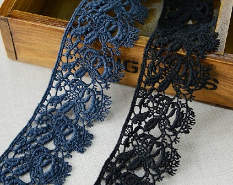 "10 yard 4.5cm 1.77"" wide black/navy cotton embroidery lace trim ribbon L22K286 free ship"