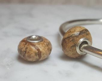 Picture Jasper Gemstone European Bead