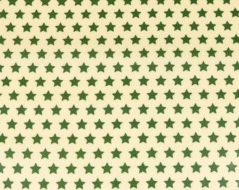 Laminated cotton fabric joyful Christmas star Pine Green on cream (17.50 EUR / meter)