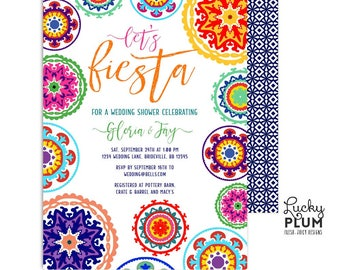 Fiesta Wedding Shower Invitation / Mexican Couples Shower Invitation / Mexican Engagement Invitation / Printable Digital FT01