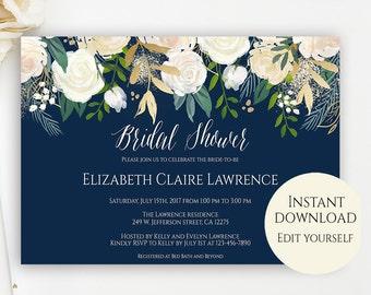 Bridal Shower Invitation Template, Editable Template, Bridal Shower Invitation, Editable PDF, PDF Template, Navy Bridal Shower Invite, DIY