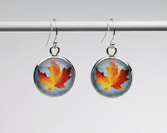 Maple Sky - Earrings - Photography - Handmade - Unique Gift - Matching Bracelet or Necklace Available -  Wearable Art!