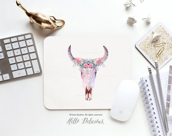 Mouse Pad Mousepad Bohemian Skull Mouse Mat Floral Mouse Pad Office Mousemat Rectangular Mousemat Boho Antlers Mousepad Round 62