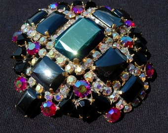 AS IS: Vintage Pin or Brooch, with Black and Iridescent Aurora Borealis Crystals, Signed