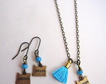 Oregon State Earrings, Necklace Set, Antique Brass, Oregon Pendant, State jewelry, Tassel, Bohemian, Everyday Jewelry