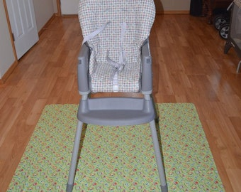 Owls Splat Mat / Art  Mat - Baby High Chair Washable Protection - Choose Your Patttern