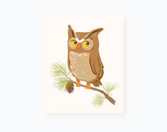 Owl wall art - woodland art for kids - nursery wall decor for baby