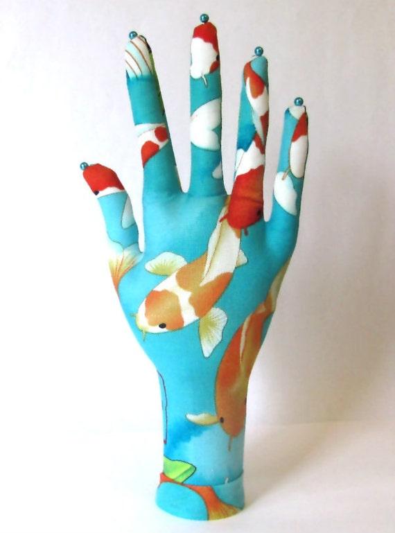 CLASSIC Koi Lotus Fabric HAND-Stand ~ Jewelry Display ~ Ready to Ship