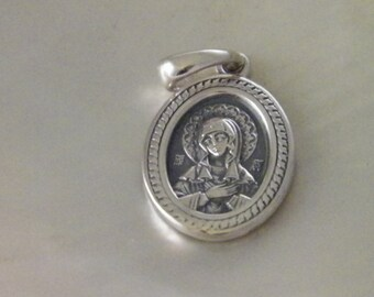 925 Oxidized Sterling Silver  Icon - the Holly Mother