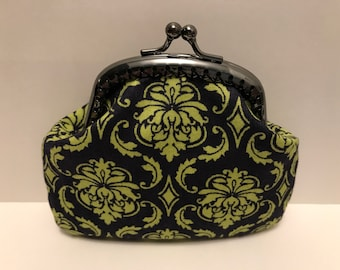 Green Damask Coin Purse