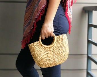 Natural Basket Handmade Straw bag  Water  Hyacinth Bag Woven Bag  Sea Grass Bag Beach Bag top handle bag Small Size