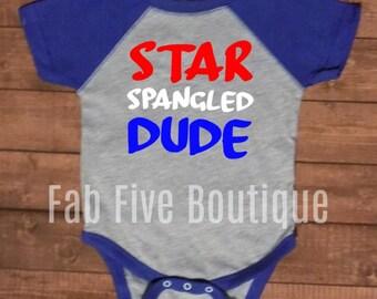 Fourth of July, July 4th, Holiday shirt, Kid shirt, Star spangled dude, boy shirt
