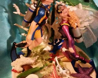Ocean Scuba Divers Wedding Cake Topper