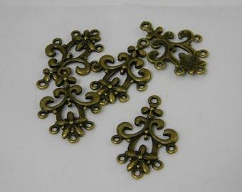 Antique Bronze Earring Chandelier 20pcs, Chandelier Links, Chandelier Components, Flower Earring Link, Jewelry Supplies