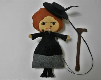 Felt Magic Nanny McPhee Softie Plushie Doll with staff and hat