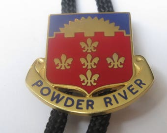 Vintage Powder River Enamel on  Gold  Tone  Shield Bolo Tie IC  Lot 4
