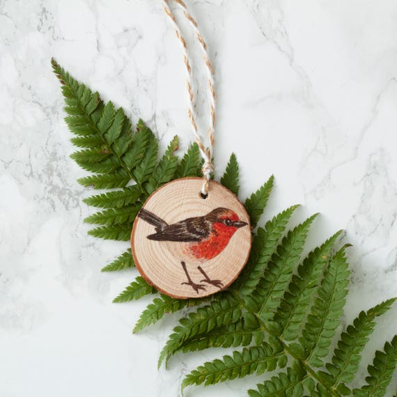 Robin Wooden Christmas Decoration Illustrated Christmas