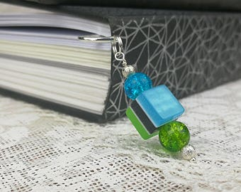 Bookmark Blue Green bookmarks Book lover gift Metal bookmark Unique bookmarks  Beaded bookmarks Bead page marker