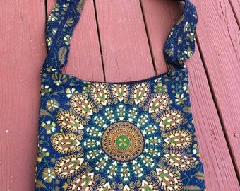 Mandala handbag, cotton bag, ethnic handbag, tribal handbag, colorful handbag, gypsy handbag, hippie bag.