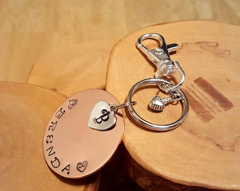 MADE TO ORDER custom keychain with clip Monogram and Name hand stamped and polished terrific gift idea