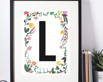 Watercolor print, Floral Monogram, Watercolor Monogram, Floral Alphabet, Watercolor Alphabet, Digital Print, Watercolor Download, L Monogram