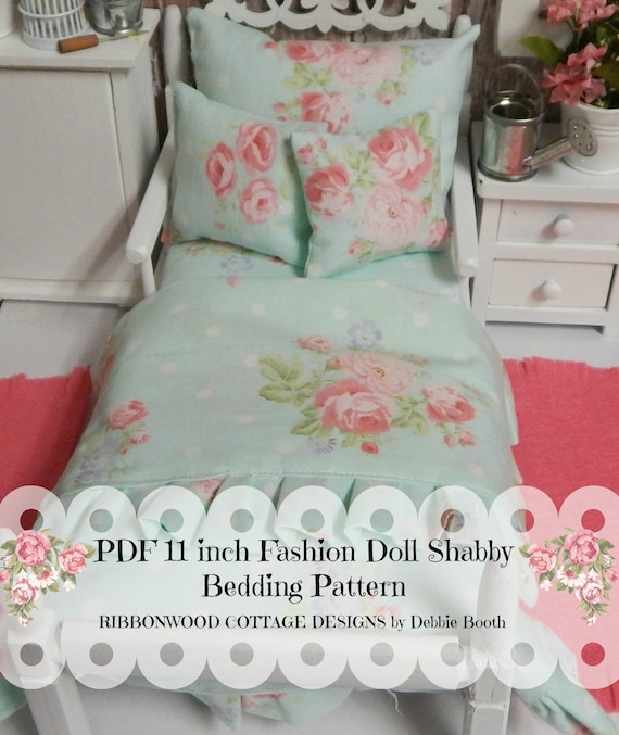 Sewing Pattern PDF 11 inch Fashion Doll Shabby Ruffled Doll Bedding Set PDF pattern